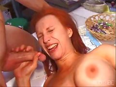 Two babes and a bunch of hard cocks