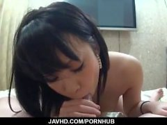 Riku Sena amazed with pure blowjob in POV style