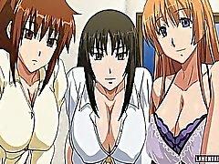 Tre väldiga titted hentai brudar knullas av en kille