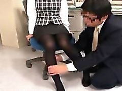 Pantyhosed secretary has a nerdy guy gently caressing her s