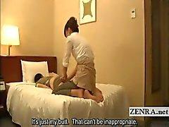 Ondertiteld kinky Japans hotel kont massage door milf