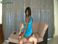 Ebony shemale chick riding a swagger on couch