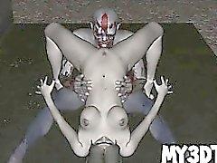 Two cartoon zombies 3D cornée présentant certain sexe chauds