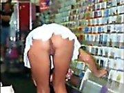 Girls Flashing While Shopping