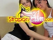 Pantyhose Threesome Strap-on. Part 1 of 2.