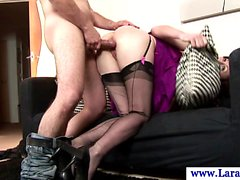 Mature euro milf in stockings doggystyle fucked