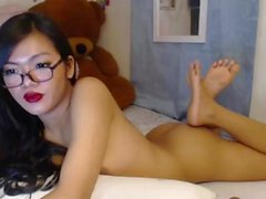 Nerd teenager Ladyboy with glasses and hanging balls