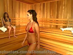 Steamy TS Locker Room Sex