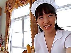 softcore Asian hizmetçi eteklik günlük kullanıma yönelik ince kabartmak