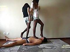 Chinese femdom black panthose trample