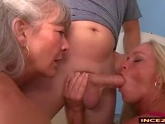 2 moms get a cumload on there face