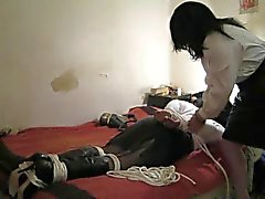 2 leather t-girls bondage