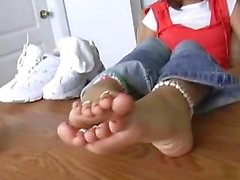 Alexis Capri Cute Girly Feet on the Table