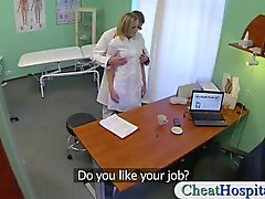 Dirty doctor screws his hot sexy blonde nurse in his hospital