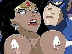 Super héroe porno la Mujer Maravilla vs al Capitán América