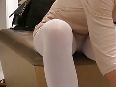 Jeny Smith - white pantyhose flashing spycam