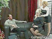 Clothed sluts gets fucked