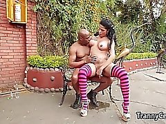 Pink stockings tranny banging big black cock