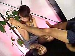 Seductive Japanese slut licks her lover's toes and blows hi