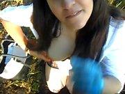 Lilly Davies (Handjob_Hunnie) Outdoor Latex Glove Handjob and Eats Cum