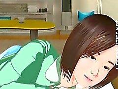 Hentai bonito do 3D menina têm um sonho molhado