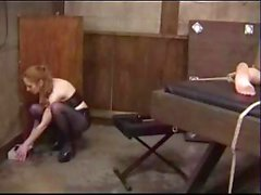Two lesbians in some fetish moves as she gets pussy drilled