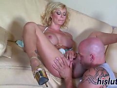 Busty cougar Holly has her beaver drilled