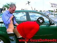 Interracial gay anal fuck in public carpark
