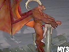 Babe de dessin animé rusée 3D obtient baisé dur par un démon