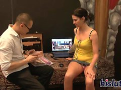 Naughty babe gets rammed by an Asian stud