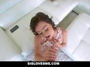 SisLovesMe - Busty Stepsis Hops on Stepbros Cock