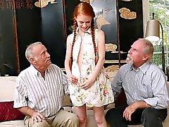 Ginger petite jugendlich Saugen Oldmans Junk