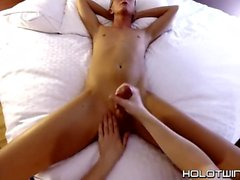 Jacked off twink Evan Stone slurps cum after blowing cock