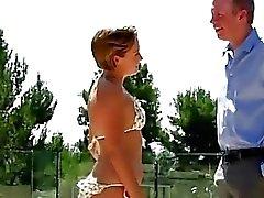 Naughty 18yo babysitter plays with her mature boss