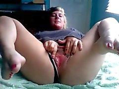 Chubby ex tyttöystävä mukava varpaat masturboi pillu