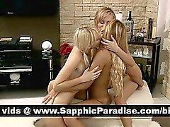 Stygg blondin lesbiska fingersättning och att slicka fitta i i tre så lesbisk orgy