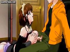 Hot young animated brunette maid gives a titjob and gets a messy facial