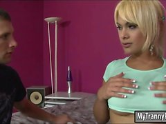 Huge hooters shemale Kim Bella analyzed by hard man meat