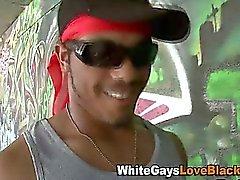 White guy sucking black cock