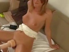 Cutie takes on machine to fuck and suck