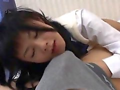 Japanese schoolgirl sucks cock and gets hardcore banging