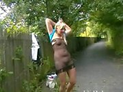 Flashing blonde babe Lenas highway masturbation and public nudity