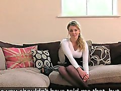 Blonde deep throats and anal fingered on casting