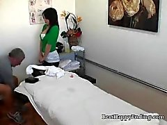 Asian Masseur Wipes Cum On Clients Tummy