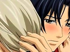 Två bög Hentai Porn kyssa för samt med kärleken i bädd