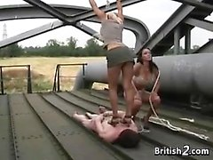 British Bitches With Their Slave Outside