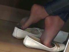 dining pantyhose feet