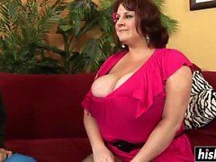 BBW in fishnet stockings gets drilled