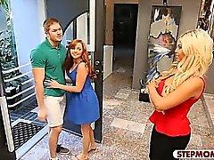Busty mature stepmom Bridgette B threesome with teens