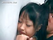Asian sweetie pussy nailed from behind against the wall
